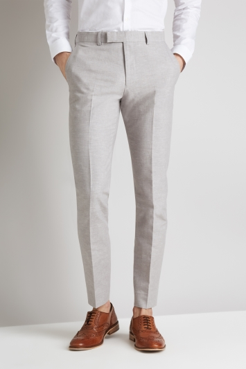 Moss London Light Grey Linen Cotton Linen Trousers