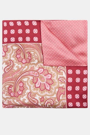 Moss 1851 Pink Paisley/Spot Double Pocket Square