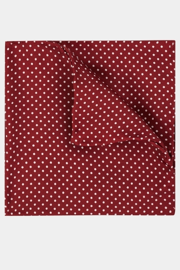 Moss 1851 Wine & White Pin Dot Pocket Square