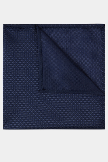 Moss London Navy Textured Pocket Square