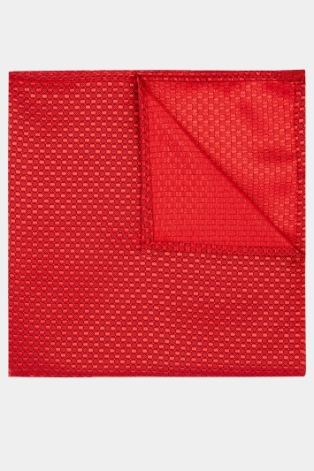 Moss London Red Textured Pocket Square