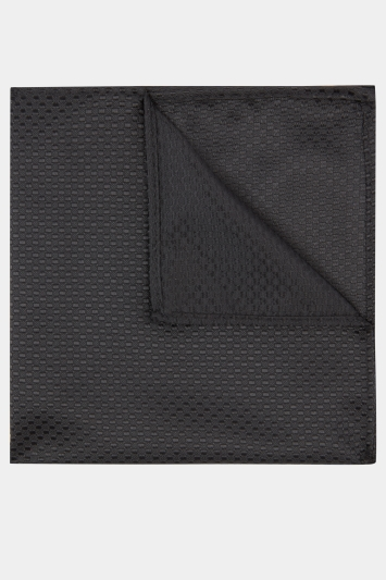 Moss London Black Textured Pocket Square