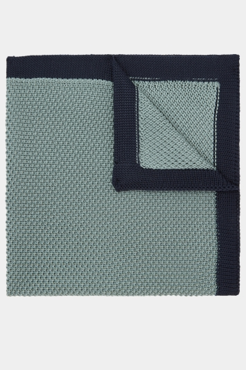 Moss London Sage Knitted Pocket Square