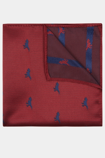 Moss London Red Dinosaur Print Pocket Square