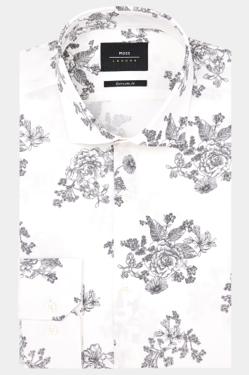 Moss London Extra Slim Fit Grey Single Cuff Floral Print Shirt