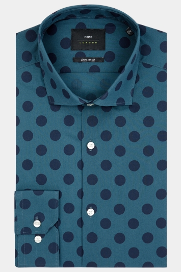 Moss London Extra Slim Fit Green Single Cuff Spot Print Shirt