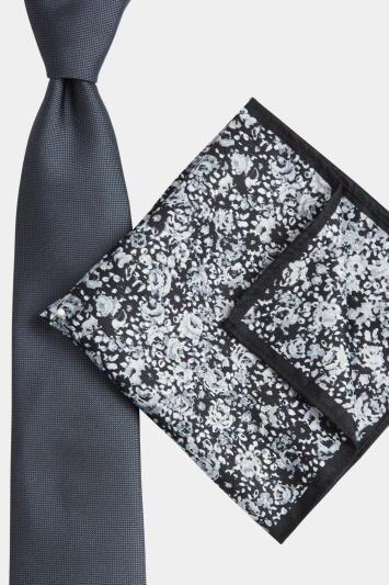Moss London Grey Floral Tie & Pocket Square Gift Set