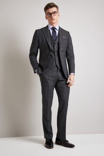 Hardy Amies Tailored Fit Grey Windowpane Jacket