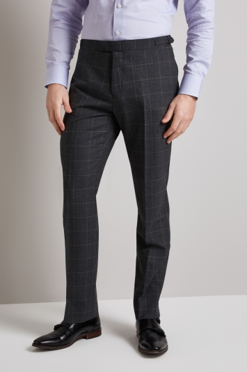 Hardy Amies Tailored Fit Grey Windowpane Trouser