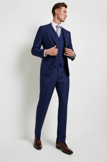 Hardy Amies Tailored Fit Plain Blue Jacket