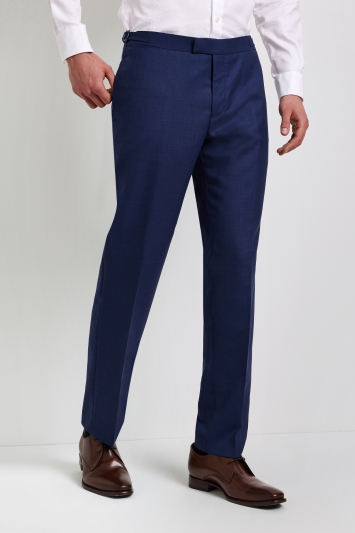 Hardy Amies Tailored Fit Plain Blue Trouser