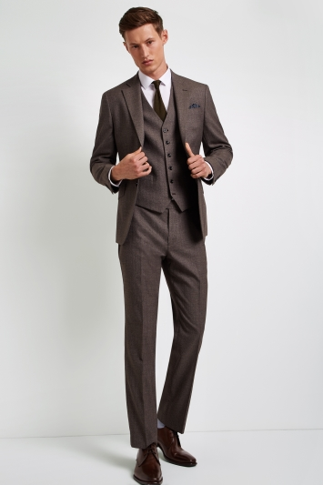 Hardy Amies Tailored Fit Brown Twist Jacket