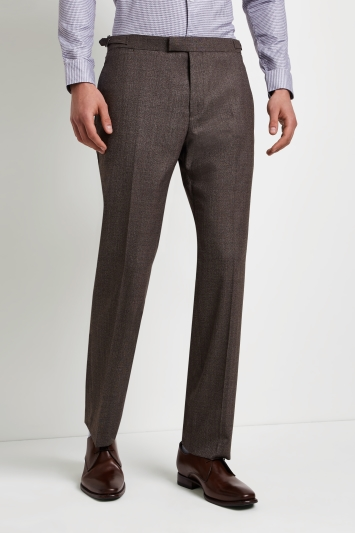 Hardy Amies Tailored Fit Brown Twist Trouser
