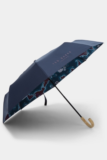 Ted Baker Geog Navy Printed Compact Umbrella