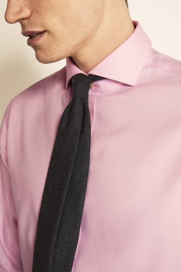 Moss 1851 Tailored Fit Pink Single Cuff Textured Zero Iron Shirt