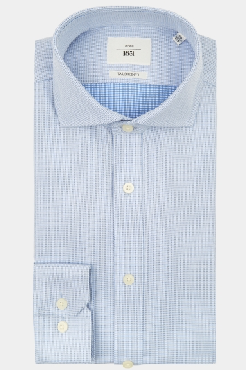 Moss 1851 Tailored Fit Sky Single Cuff Dobby Textured Zero Iron Shirt