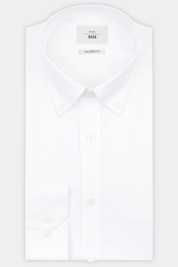 Moss 1851 Tailored Fit White Button Down Textured Zero Iron Shirt