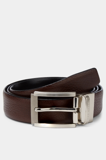 Ted Baker Chocolate Reva Reversible Textured Leather Belt