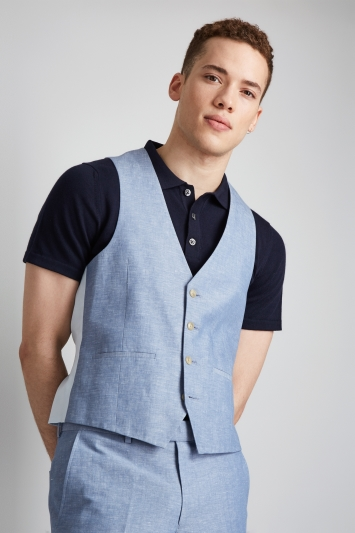 Moss London Light Blue Linen Cotton Waistcoat