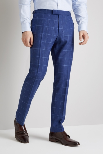 Moss 1851 Tailored Fit Bright Blue Windowpane Trousers