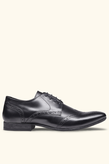 Moss London Lucan Black Brogue Shoe