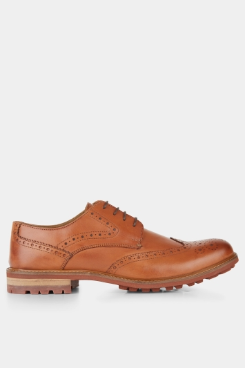 Moss London Bray Tan Lightweight Brogue Shoe