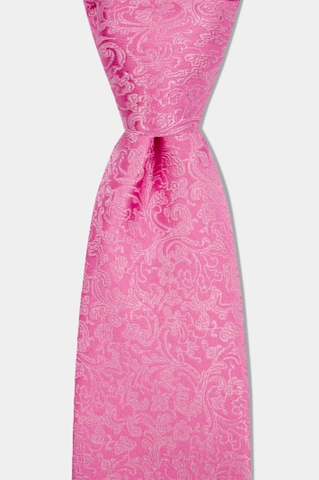 Moss 1851 Pink Floral Swirl Tie