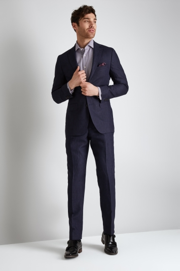Moss 1851 Tailored Fit Navy Linen Jacket
