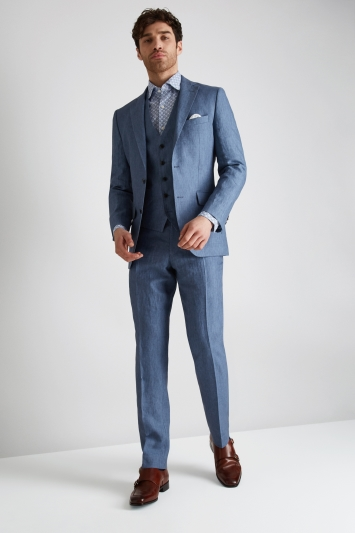 Moss 1851 Tailored Fit Mid Blue Linen Jacket