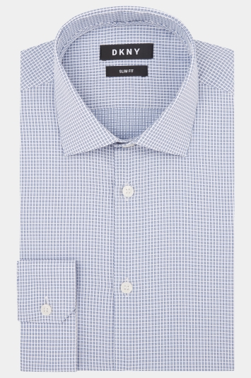 DKNY Slim Fit Petrol Single Cuff Textured Shirt