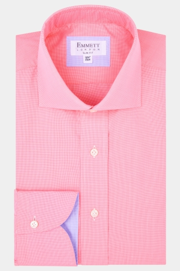 Emmett Slim Fit Pink Single Cuff Textured Shirt
