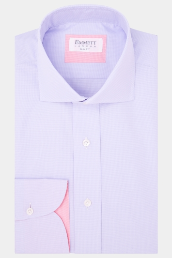 Emmett Slim Fit Lilac Single Cuff Textured Shirt