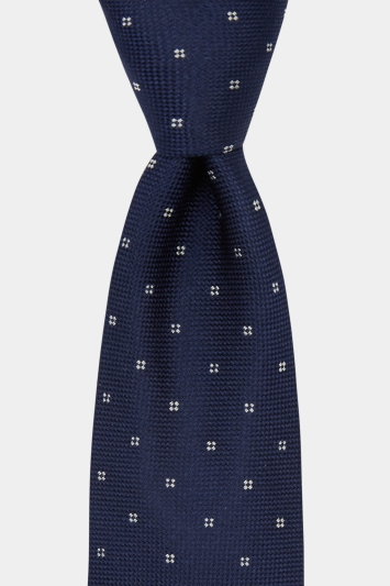 DKNY Navy With White Flower Tie