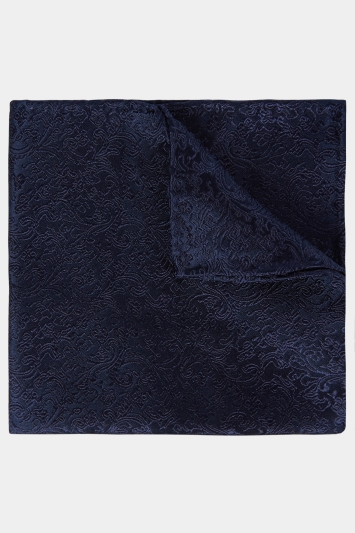 Moss 1851 Navy Floral Swirl Pocket Square