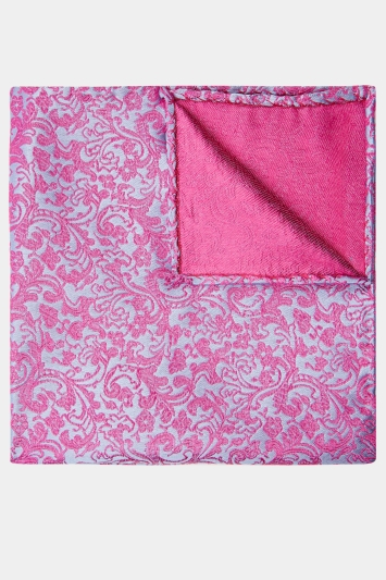 Moss 1851 Pink & Blue Floral Swirl Pocket Square