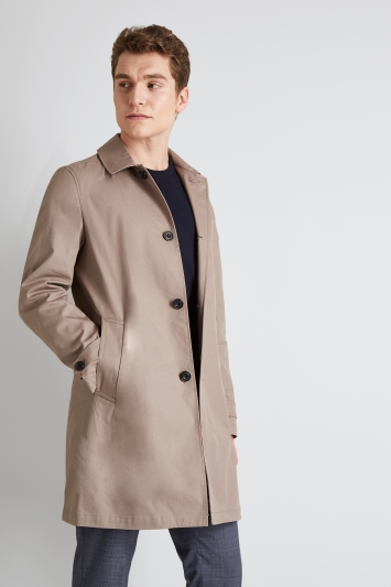 Hardy Amies Slim Fit Stone Cotton Raincoat