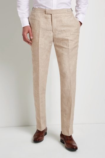 Hardy Amies Stone Linen Trousers
