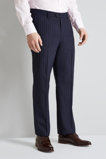 Moss Esq. Regular Fit Navy Stripe Trouser