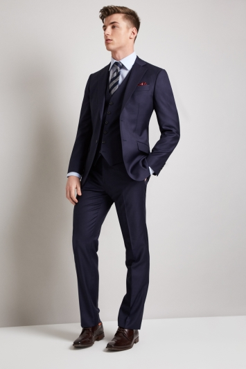 Hardy Amies Tailored Fit Plain Navy Jacket