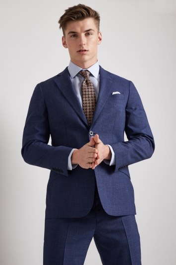 Hardy Amies Tailored Fit Blue Linen Check Jacket