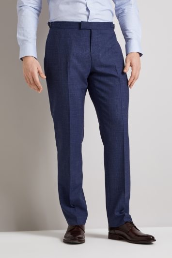 e274cab91 Hardy Amies Tailored Fit Blue Linen Check Trousers