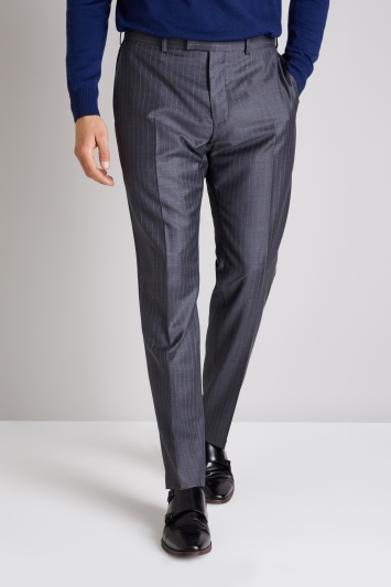 Ermenegildo Zegna Cloth Tailored Fit Grey Broken Stripe Trouser