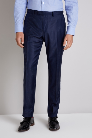 Ermenegildo Zegna Cloth Tailored Fit Navy Broken Stripe Trousers