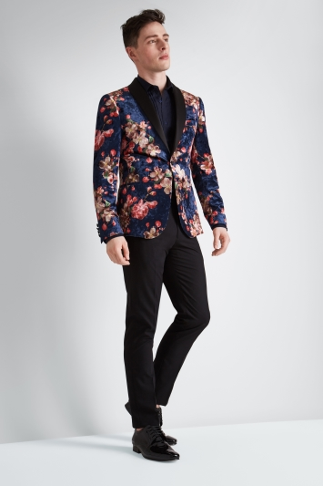 Moss London Skinny Fit Navy Floral Velvet Jacket