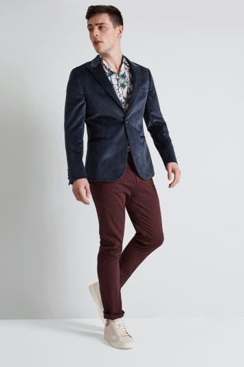 Moss London Skinny Fit Petrol Velvet Jacket