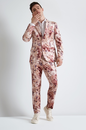 Moss London Skinny Fit Pink Floral Velvet Jacket