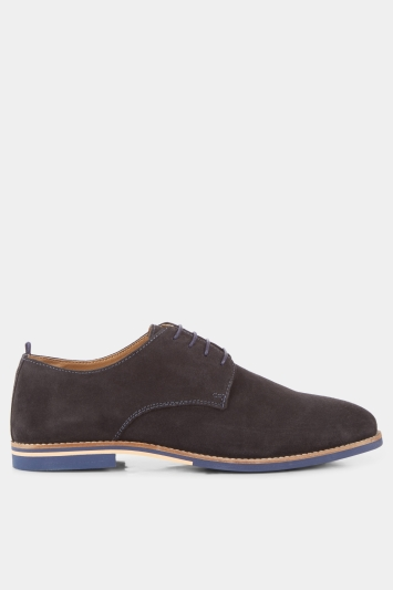 Moss London Stan Navy Suede Derby