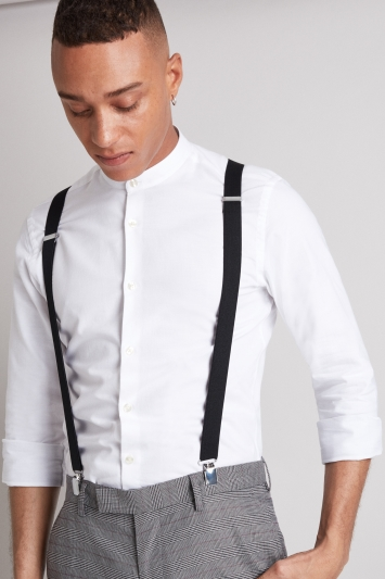 Mens Suspenders Black White Red Moss Bros