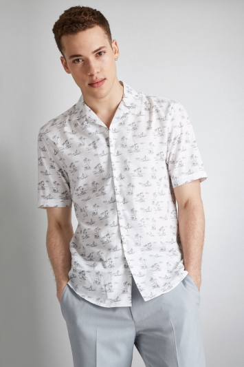 Moss London Extra Slim Fit Grey Short Sleeve Beach Print Revere Collar Casual Shirt