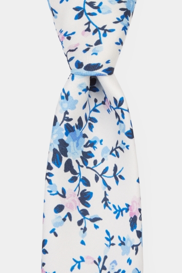 Moss London Premium Blue & Pink Open Floral Tie